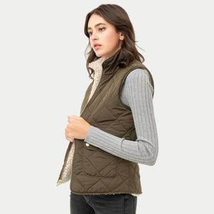 Love Tree Warm Soft Cozy Sherpa Olive Vest